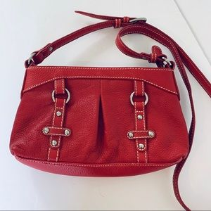 Coldwater Creek Women Red Leather Crossbody Bag